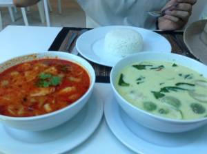 Different soups. One Tom Yum (on the left) the other cocunut chicken! Delish!