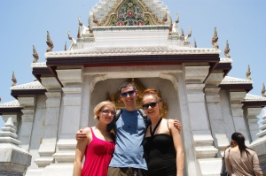 Temple, clear blue sky and friends
