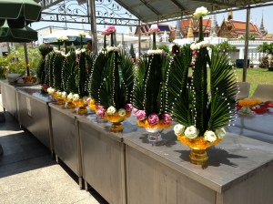 Hand made flower/palm tree thingies as decorations in a temple