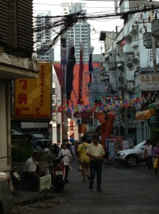 Random street in China town... look at the telephone/power lines...